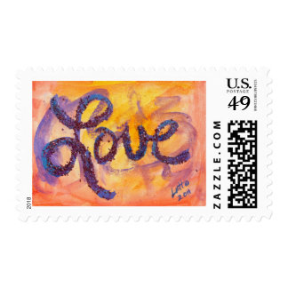 Love Sunset Golden Glow Postage Stamp