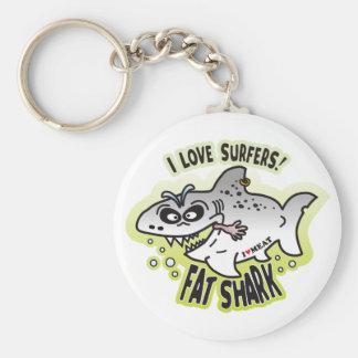 Love Surfers Fat Shark Key Chain