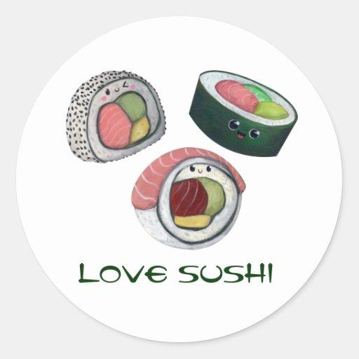 Love Sushi Round Sticker