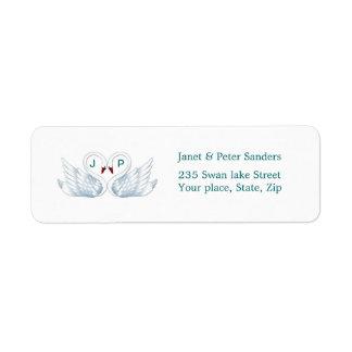 Love swans Monogram Return address label