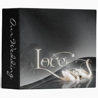 Love Swans Wedding 3 Ring Binders