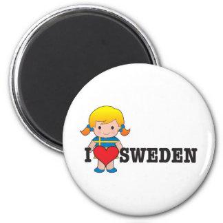 Love Sweden 2 Inch Round Magnet