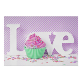 Love, sweet, muffin cake, love, pink, green white poster