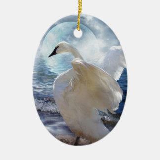 Love Swept Swan Art Ornament