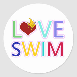 LOVE SWIM CLASSIC ROUND STICKER