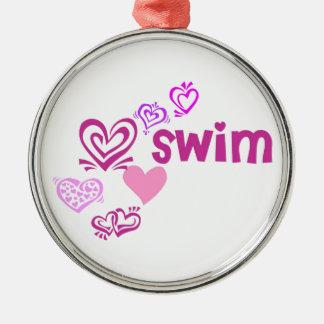 Love Swim Metal Ornament
