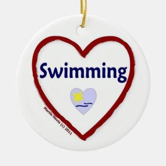 Love Swimming Ceramic Ornament