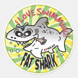 Love Swimming Fat Shark Round Sticker