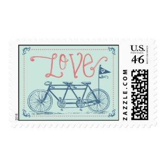 Love - Tandem Bike Postage Stamp