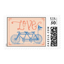 Love - Tandem Bike Postage Stamp