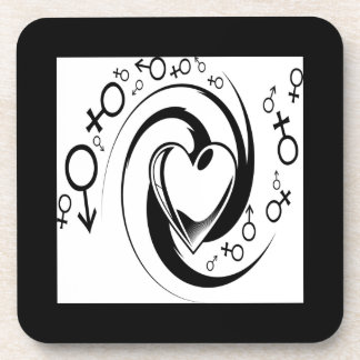 Love tattoo design beverage coasters
