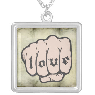 LOVE Tattoo on Fist Knuckles Hand Square Necklace