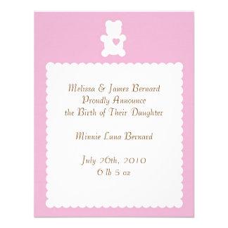 Love Teddy Birth Announcement - Baby Pink
