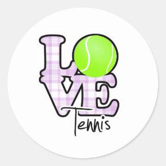 Love Tennis Classic Round Sticker