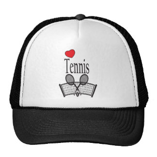 Love Tennis in Black and White Trucker Hat