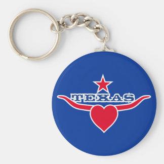 Love Texas Basic Round Button Keychain