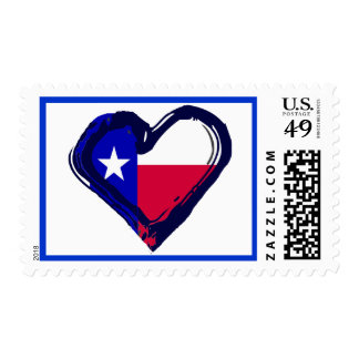 Love Texas - Flag in Heart Stamps