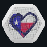 """Love Texas - Flag in Heart White Bluetooth Speaker<br><div class=""""desc"""">A grunge-style heart surrounds the colors of the Texan flag - red, white and blue. Great design for anyone who loves that Lone Star State, Texas. Most items have plenty of room for you to add a name or message, if you would like also to personalize it. Special requests? Comments...</div>"""