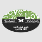 Love Text Candle Jar Favor Tags in Lime zazzle_sticker