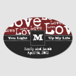 Love Text Candle Jar Favor Tags in Merlot zazzle_sticker