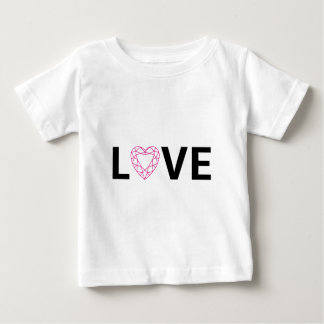 Love text design with red diamond heart baby T-Shirt