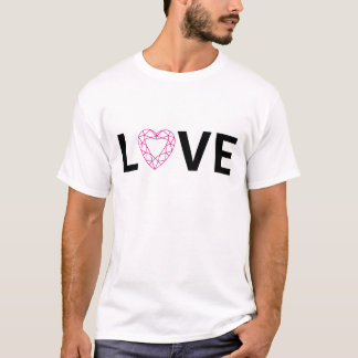 Love text design with red diamond heart T-Shirt
