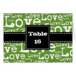 Love Text Folded Table Number Cards in Lime zazzle_card