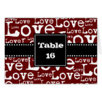 Love Text Folded Table Number Cards in Merlot zazzle_card
