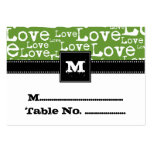 Love Text Individual Table Number Cards in Lime Business Card Templates