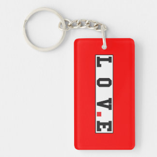 love text message emotion feeling red dot square keychain