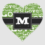 Love Text Monogram Heart Stickers in Lime zazzle_sticker