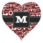 Love Text Monogram Heart Stickers in Merlot zazzle_sticker