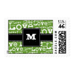 Love Text Monogram Postage in Lime zazzle_stamp