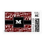 Love Text Monogram Postage in Merlot zazzle_stamp
