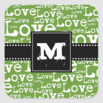 Love Text Monogram Stickers in Lime zazzle_sticker