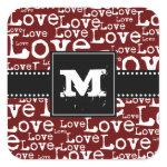 Love Text Monogram Stickers in Merlot zazzle_sticker
