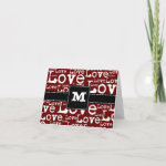 Love Text Monogram Thank You Cards in Merlot zazzle_card