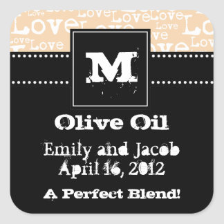 Love Text Olive Oil Favor Tags in Cream
