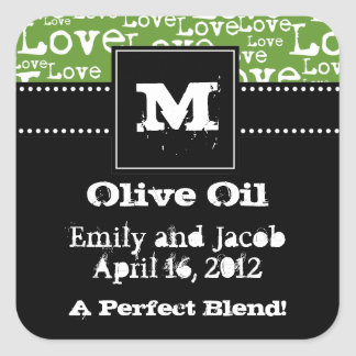 Love Text Olive Oil Favor Tags in Lime