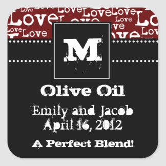 Love Text Olive Oil Favor Tags in Merlot
