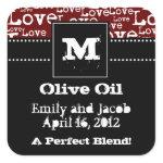Love Text Olive Oil Favor Tags in Merlot zazzle_sticker