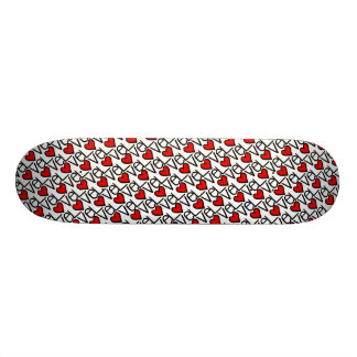 Love Text Pattern With Hearts Skateboard Deck