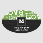 Love Text Personalized Monogram Favor Tags in Lime zazzle_sticker