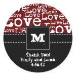 Love Text Personalized Monogram Favor Tags Merlot zazzle_sticker