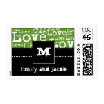 Love Text Personalized Postage in Lime zazzle_stamp