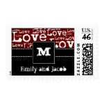 Love Text Personalized Postage in Merlot zazzle_stamp