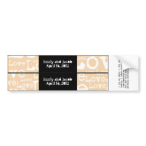 Love Text Personalized Water Bottle Labels Cream