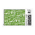 Love Text Postage in Lime zazzle_stamp