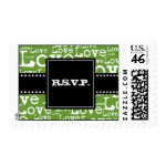 Love Text R.S.V.P. Postage in Lime zazzle_stamp