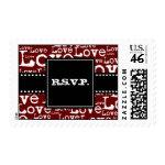 Love Text R.S.V.P. Postage in Merlot zazzle_stamp